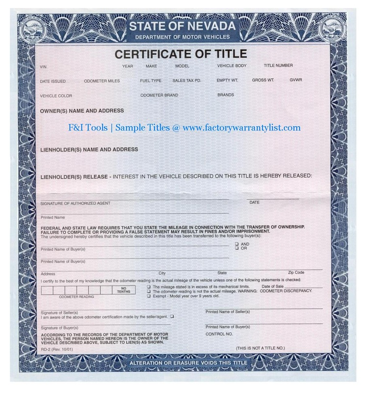 My Vehicle Title - What does a car title look like?