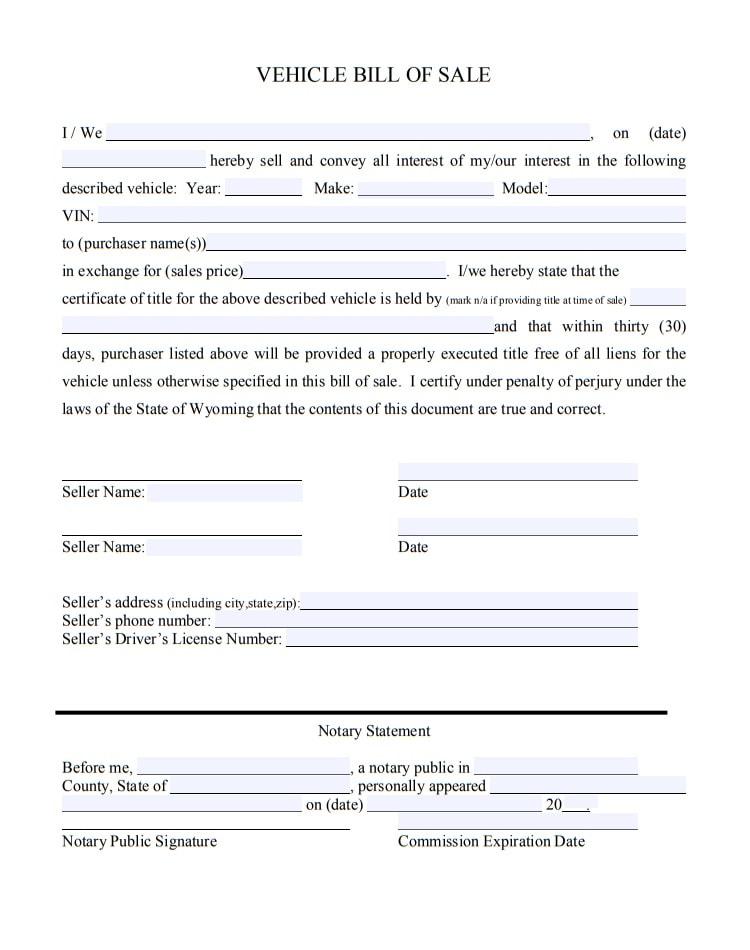 free printable bill of sale auto