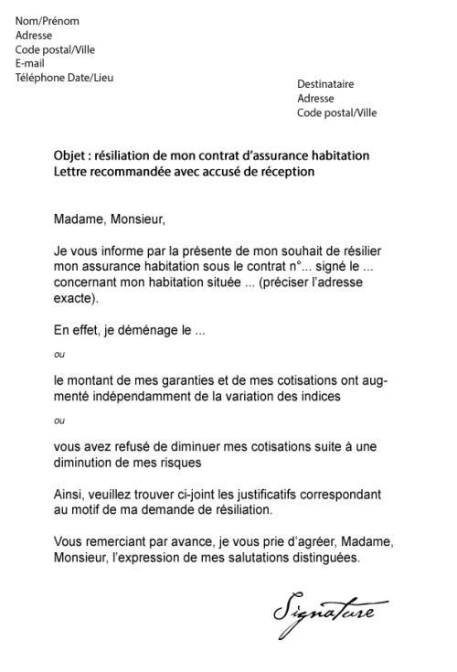photo modele lettre resiliation assurance habitation suite vente lettre de motivation