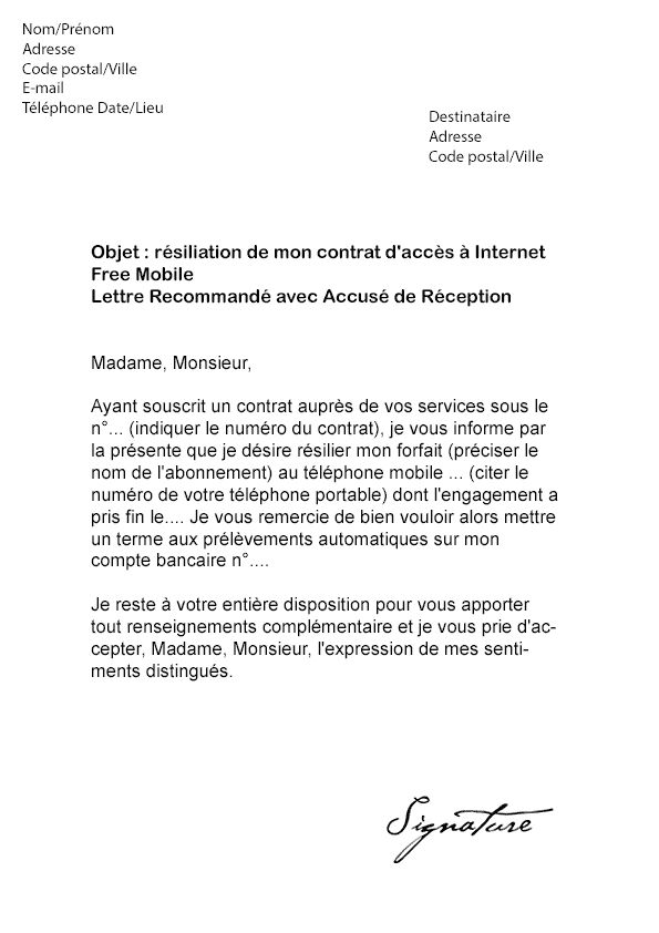 lettre resiliation contrat telephone mobile