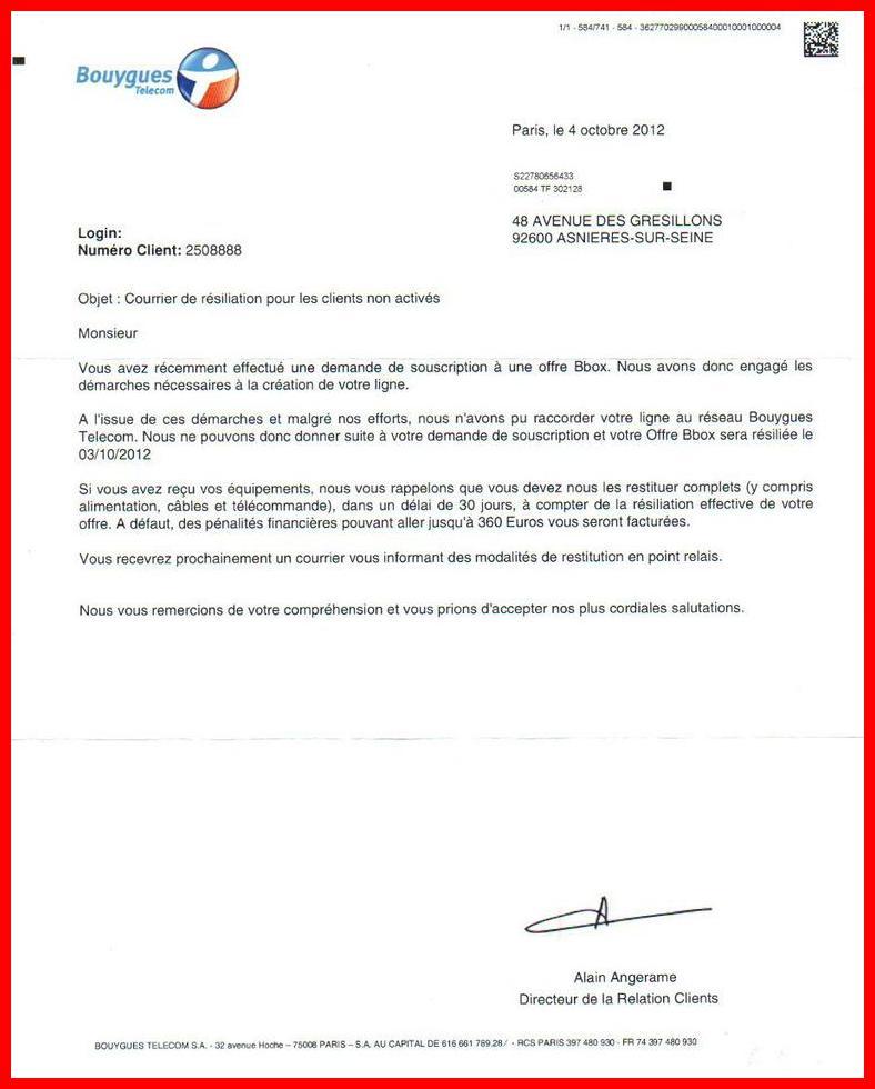 resiliation mobile bouygues lettre