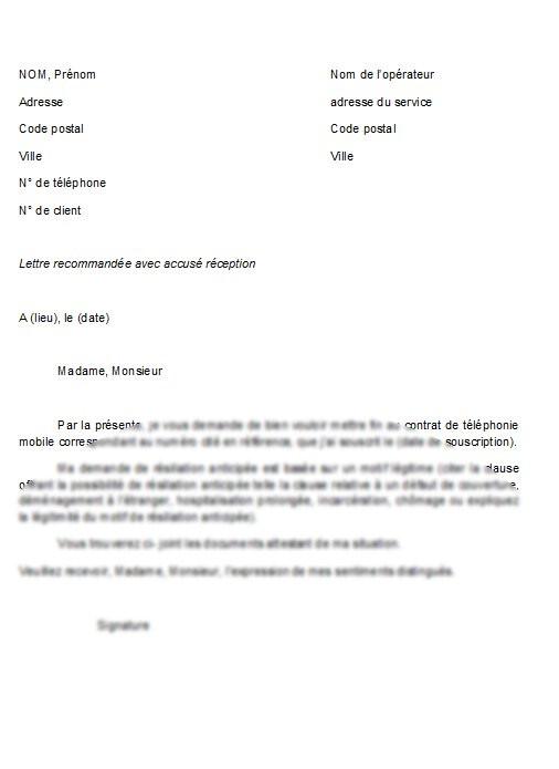 modele resiliation contrat assurance