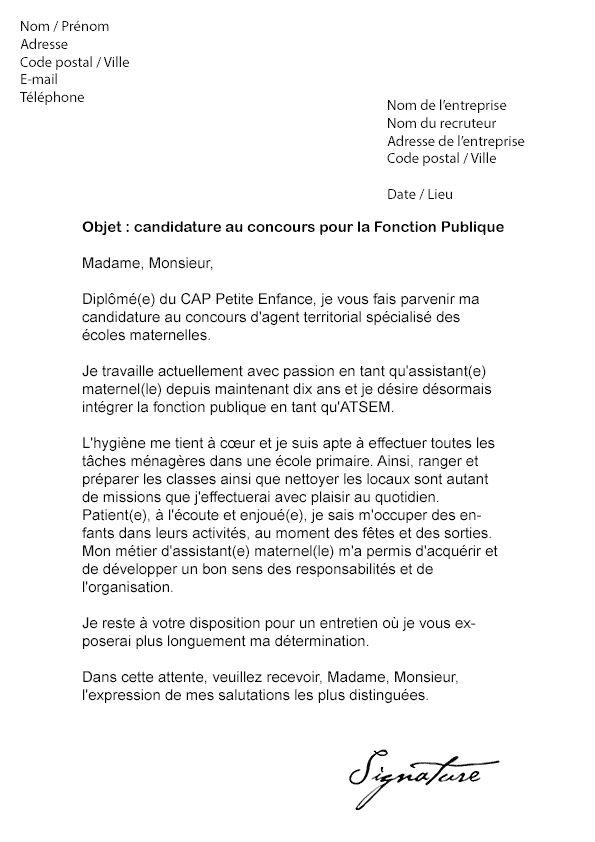 lettre de motivation et cv fonction publique