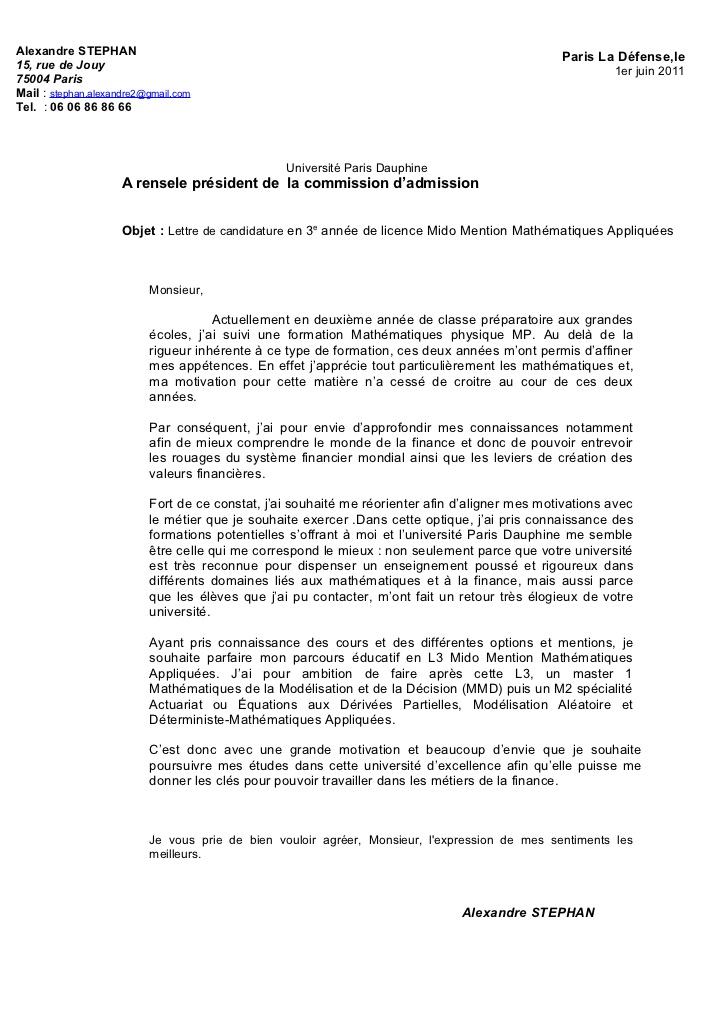 lettre de motivation licence informatique