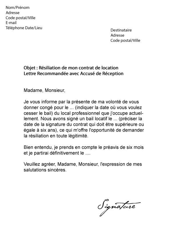 avis lettre de resiliation de bail locatif lettre type