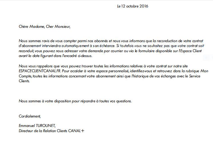lettre de resiliation canal et canal satellite