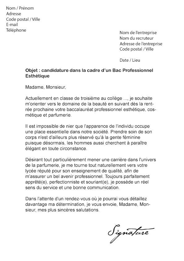 lettre pour un directeur de college avec un cv