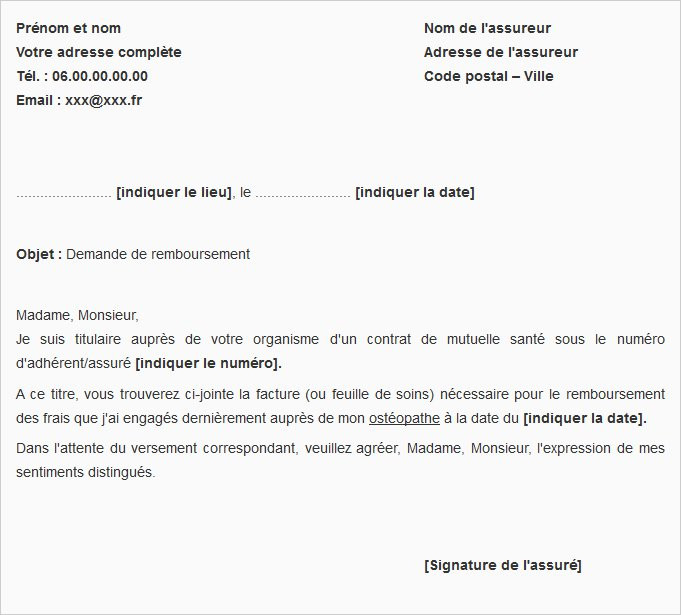 lettre de demande de remboursement de frais de resiliation