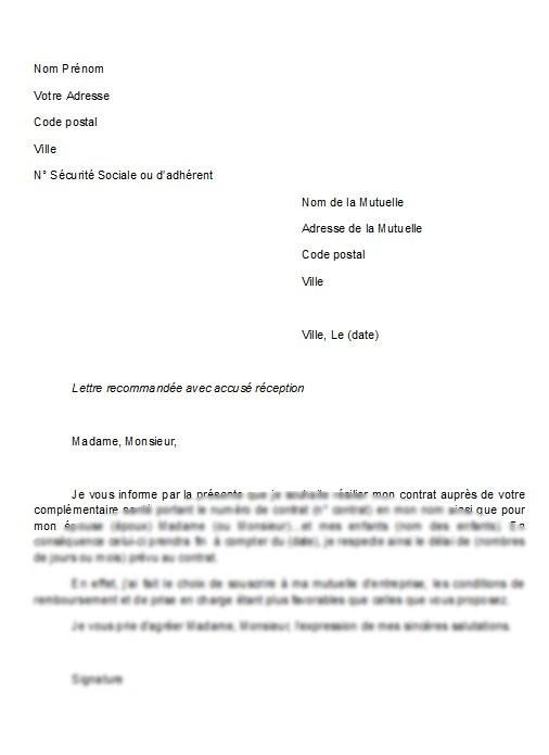 exemple lettre resiliation assurance