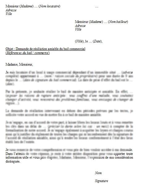 modele lettre resiliation bail commercial amiable gratuit