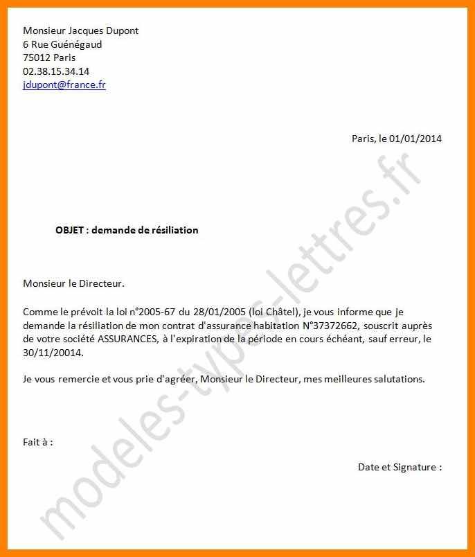 avis lettre de resiliation numericable modele lettre type
