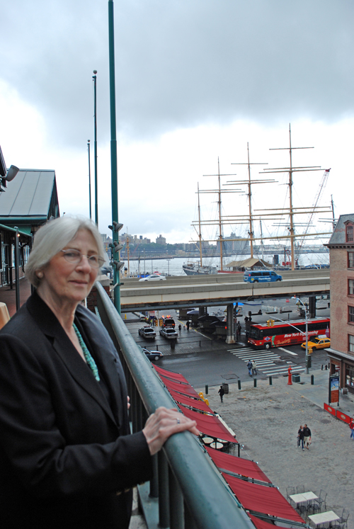 Willy overlooking Fulton Street & Seaport ©Frank H. Jump