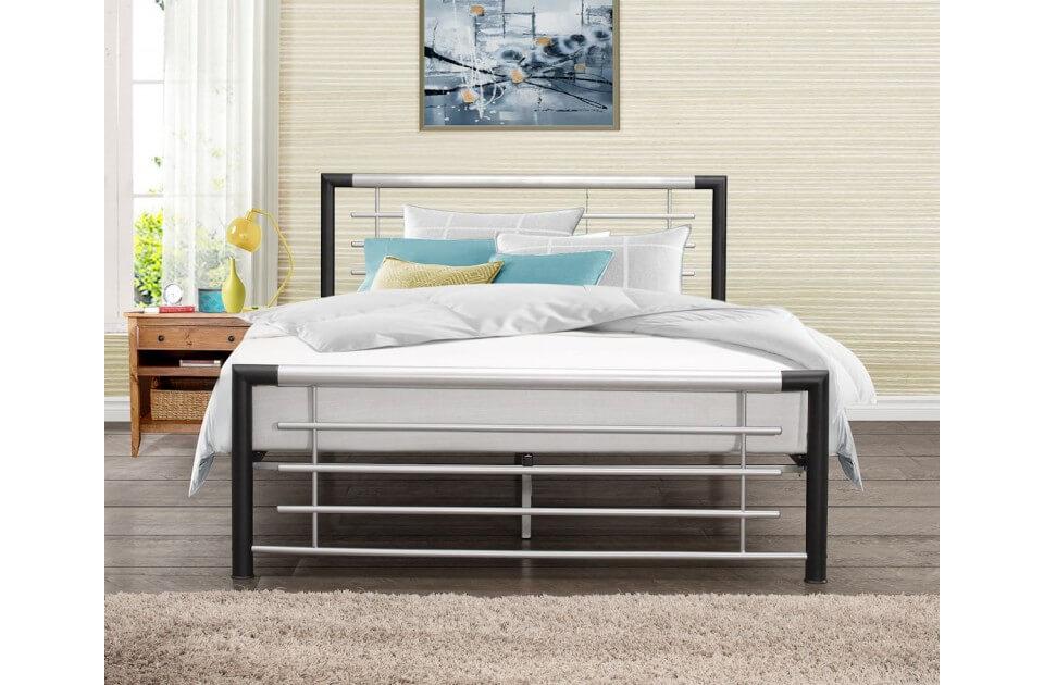 Cole Black & Silver Metal Bed Frame