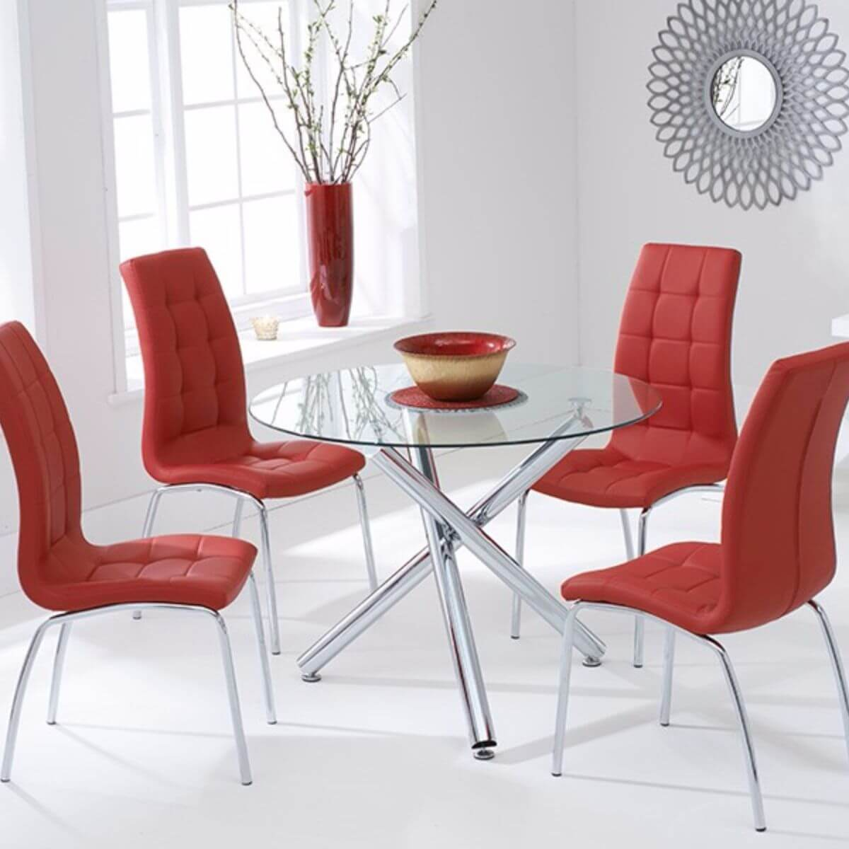 Odessa Clear Glass Round Dining Set