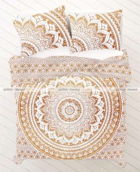 Gold Floral Ombre Mandala Bed Sheet With Pillowcases