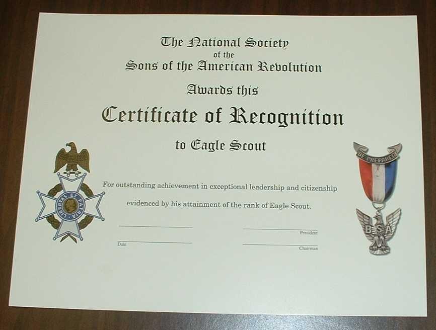 Eagle Scout Certificate Template Costumepartyrun