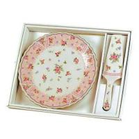 Cake Serving Plate with Server Petite Rose Design