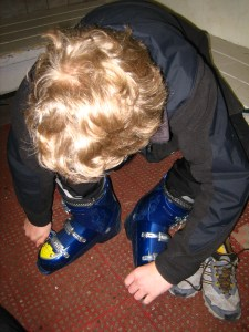 donning ski boots