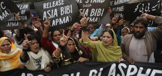 Protesters demand the release of Asia Bibi at a rally in Lahore, Pakistan, on November 21,