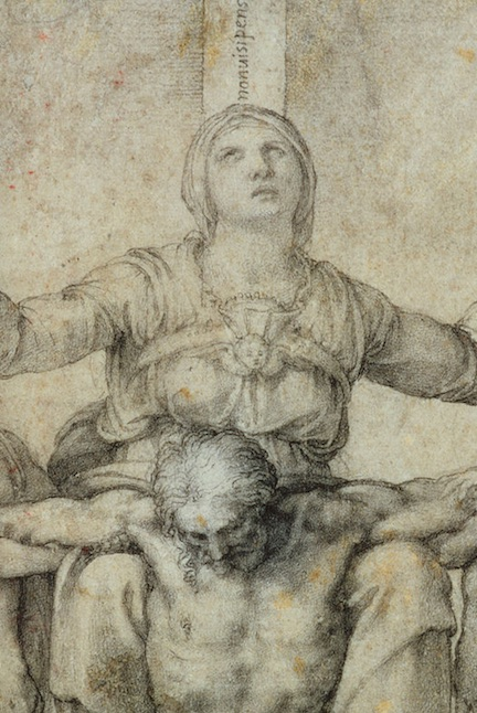 Michelangelo's far more complex study for a picture of mother and crucified son was drawn for Vittoria Colonna. Mary's face, said to resemble that of Vittoria, shows a woman distraught by her son's death yet supremely confident that he would rise again.