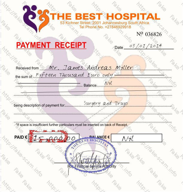 Fake - Scam - Fraud - Info - the best hospital - payment receipt
