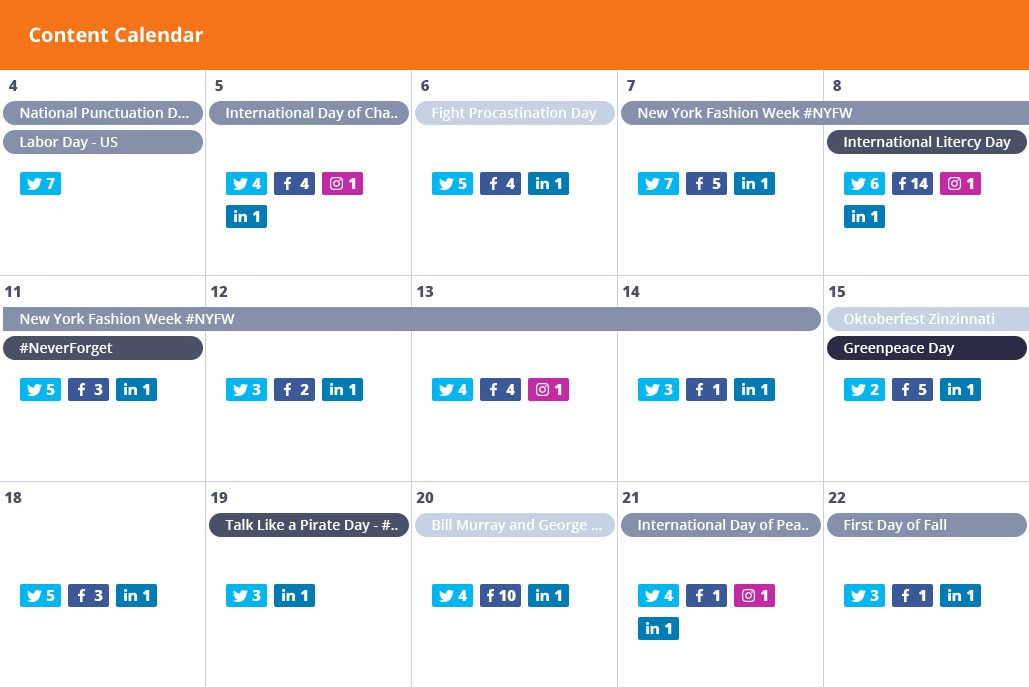 Content Calendar for Social Media Publishing Falconio