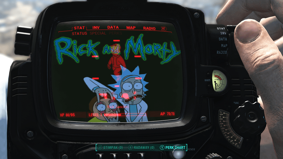 Create Name Animation Wallpaper Rick And Morty Pip Boy Background Fallout 4 Fo4 Mods