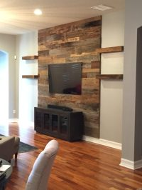 Trevor's Reclaimed Barn Wood Accent Wall with Shelving ...