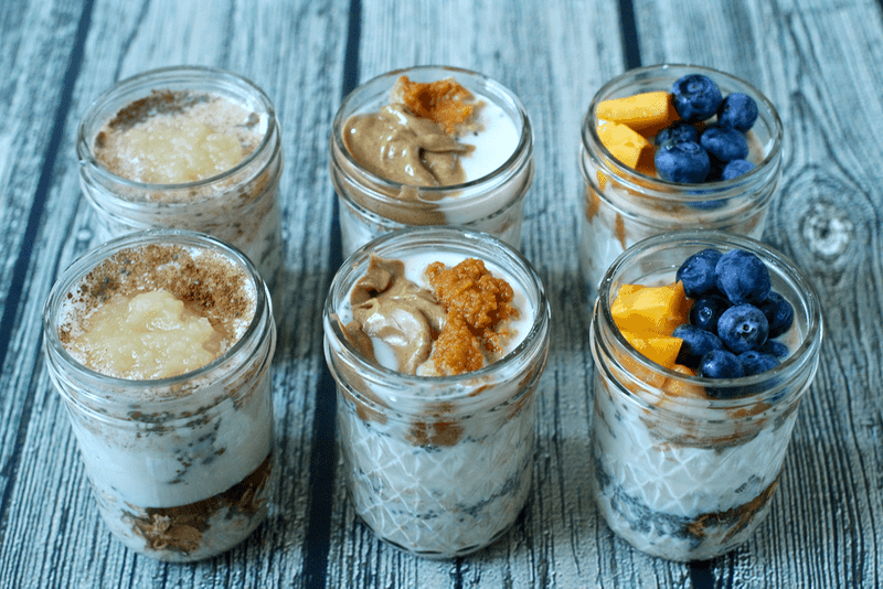 Overnight oatmeal jars, 3 ways