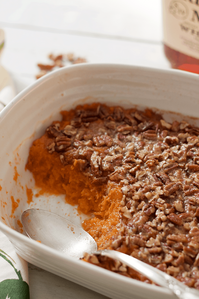 Bourbon sweet potato casserole with a buttery pecan crust - lightened ...