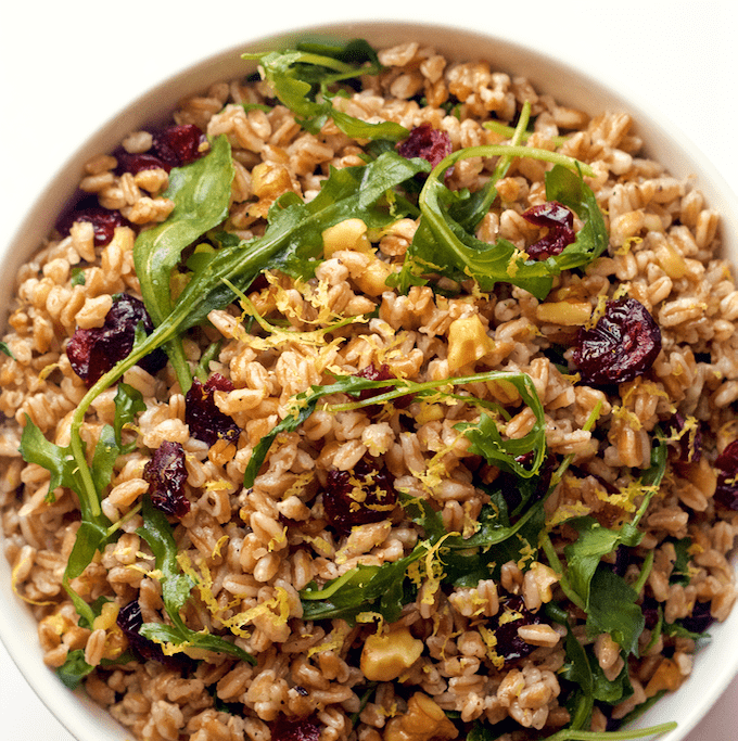 easy citrus farro and arugula salad with walnuts and dried cranberries ...