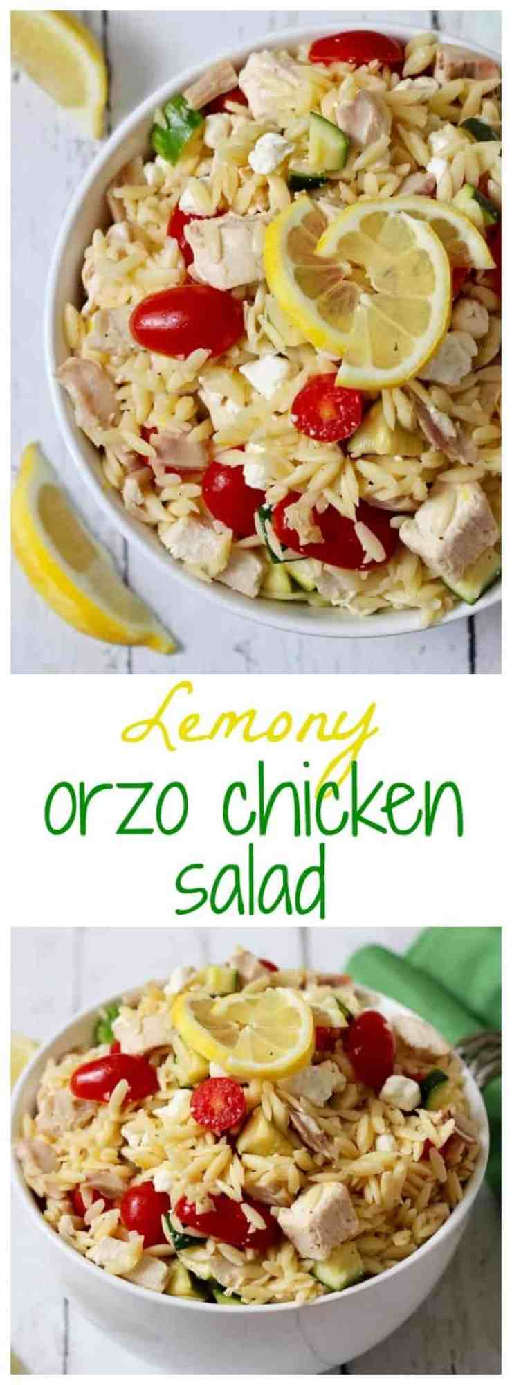 Lemony orzo chicken salad with tomatoes, zucchini and goat cheese - a ...
