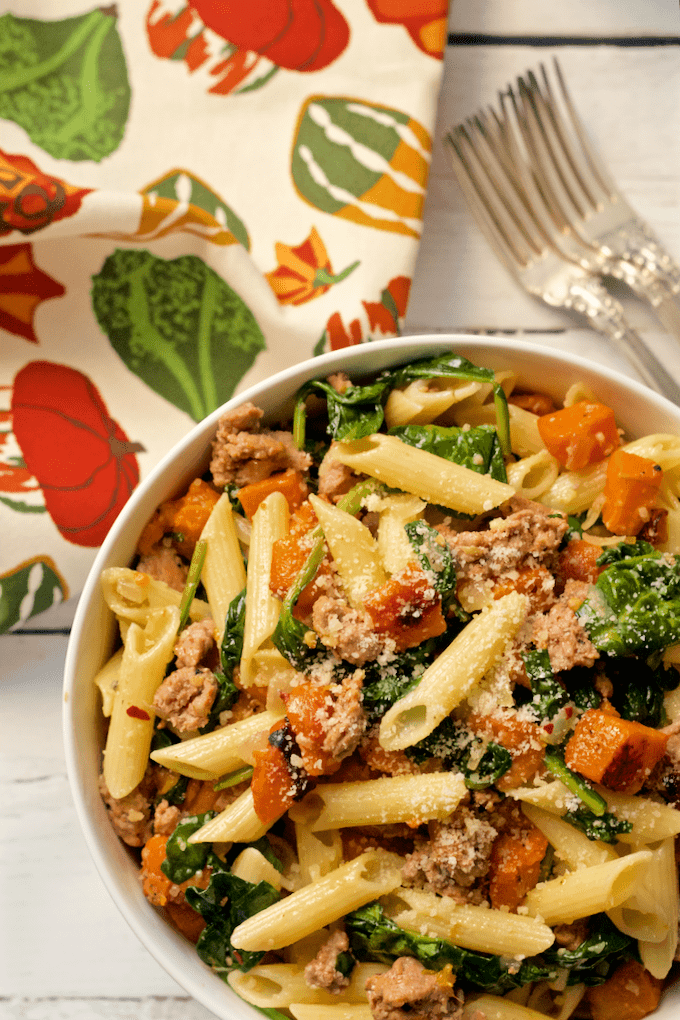 pasta dinner with turkey sausage, roasted butternut squash and spinach ...
