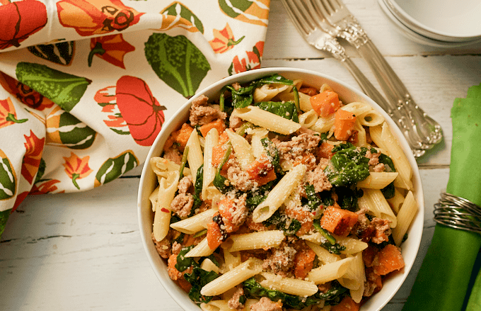 Pasta With Butternut Sauce, Spicy Sausage And Baby Spinach Recipes ...