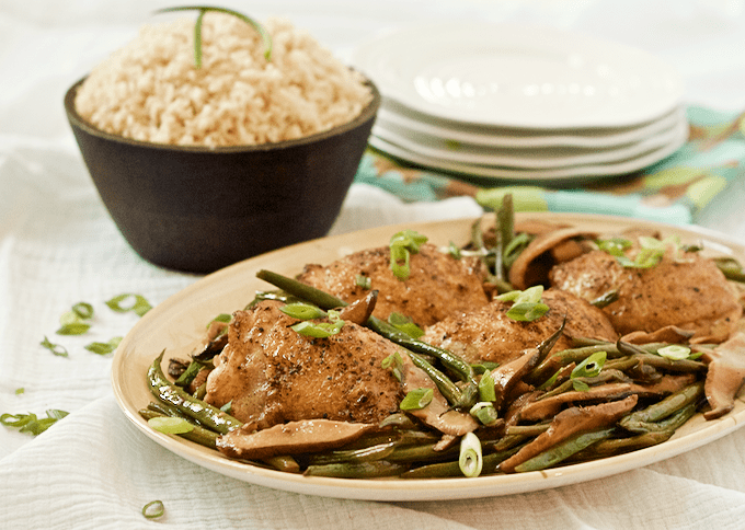 ... shiitake mushrooms and French green beans, all made in one skillet