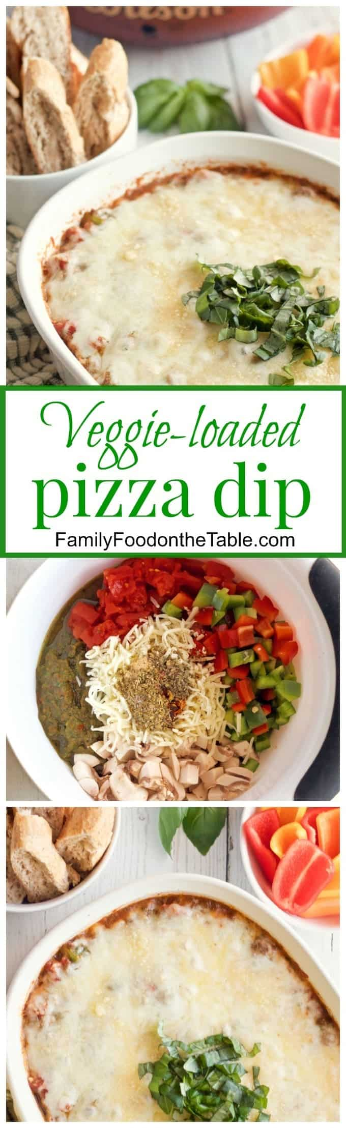 Cheesy veggie-packed pizza dip - great appetizer for football watching or party night -- Sure to be a hit with everyone! | FamilyFoodontheTable.com
