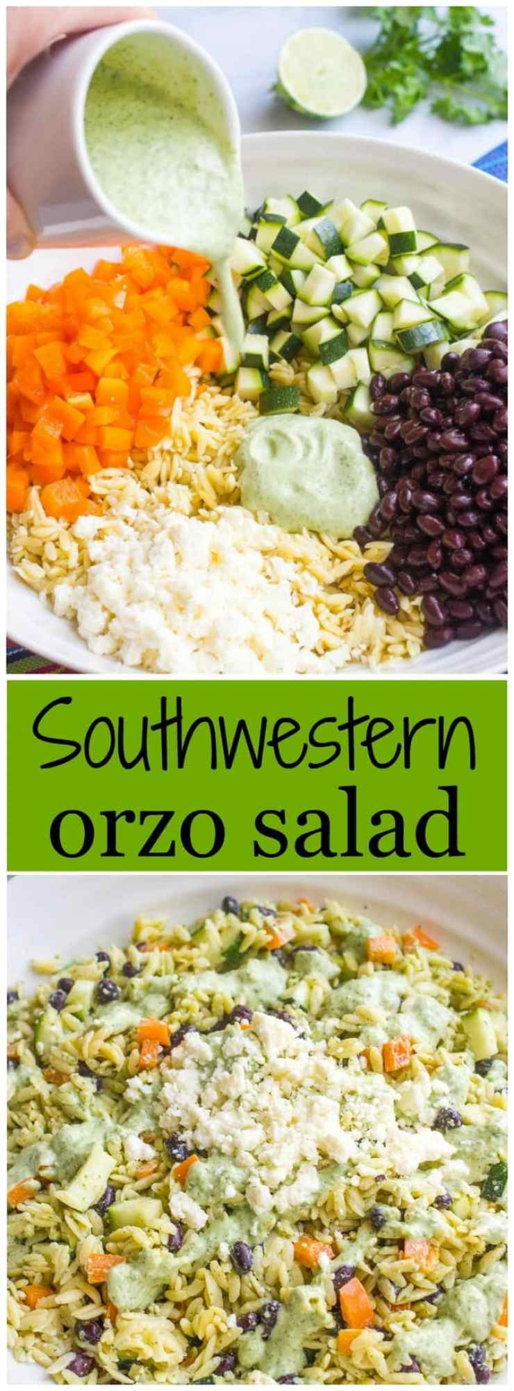 cool, creamy southwestern orzo salad with black beans, veggies ...