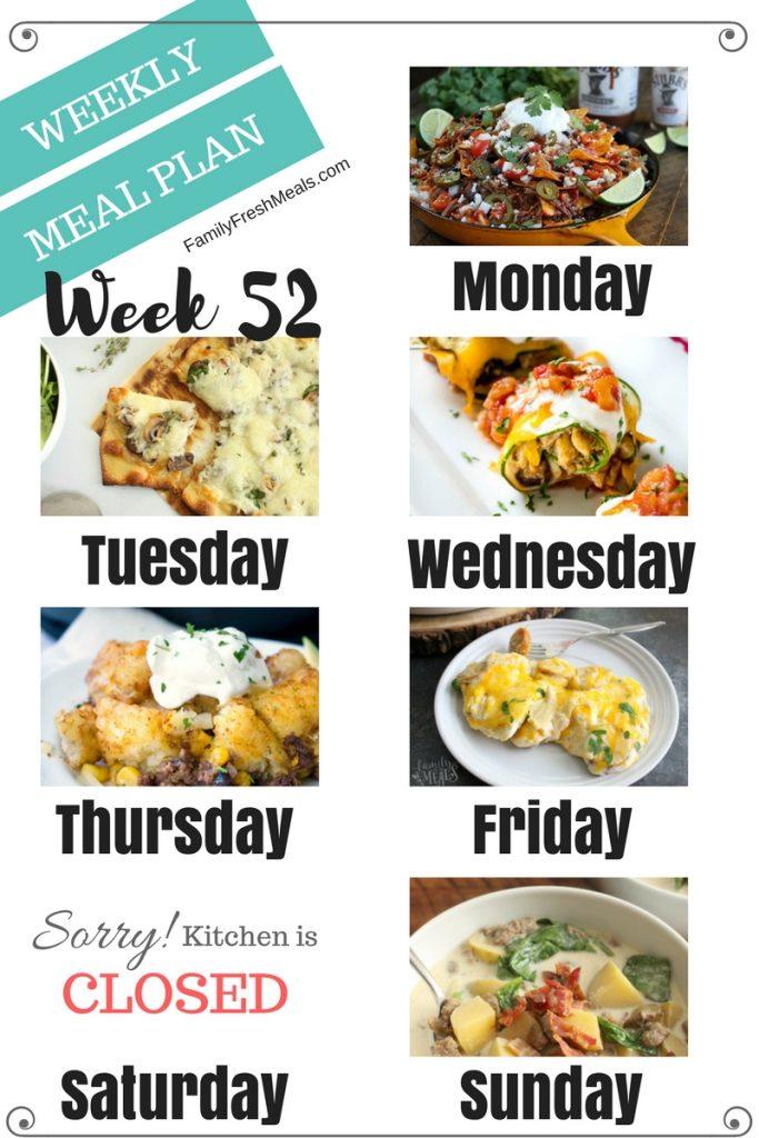 Easy Weekly Meal Plan Week 52 - Family Fresh Meals