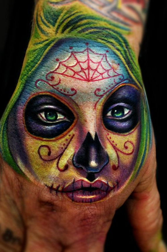 Sugar Skull Tattoos For Halloween Day Of The Dead