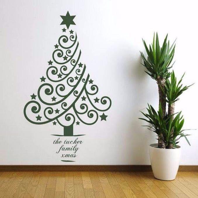 60 Wall Christmas Tree - Alternative Christmas Tree Ideas - family - small decorative christmas trees