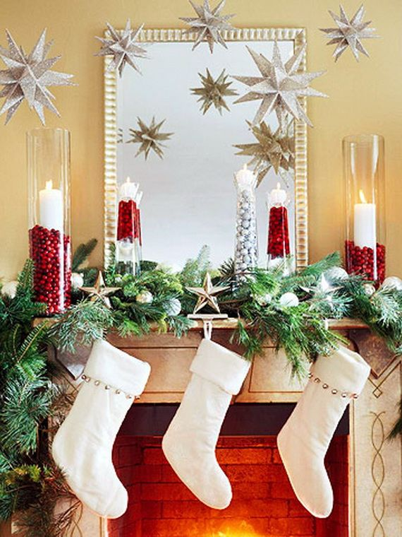 Gorgeous Fireplace Mantel Christmas Decoration Ideas - family - christmas decorating ideas