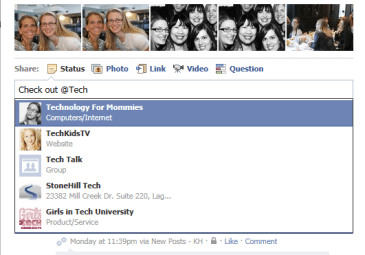 Tagging People & Pages in Facebook Status