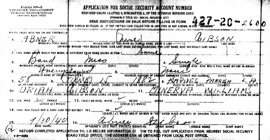 Social Security Application Details FamilyTree