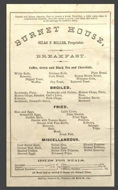 Hotel and Restaurant Menus - 19th Century FamilyTree
