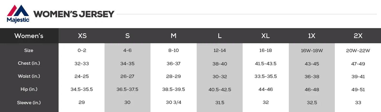 MLB Jersey Size Chart
