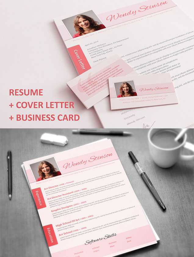 Resume with Matching Cover Letter  Business Card \u2013 Fancy Resumes - resume business cards