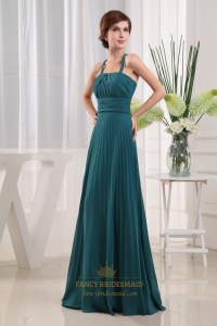 Forest Green Bridesmaid Dress, Long Crinkle Chiffon ...