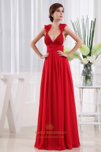 Long Red Chiffon Prom Dress, Chiffon Beaded Illusion Prom