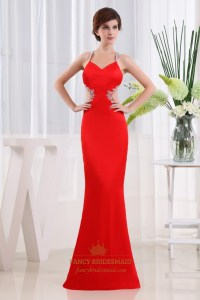 Cut Out Open Back Prom Dresses, Red Beaded Mermaid Prom ...