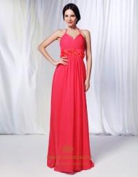 Watermelon Chiffon Bridesmaid Dress, Chiffon Halter Dress ...